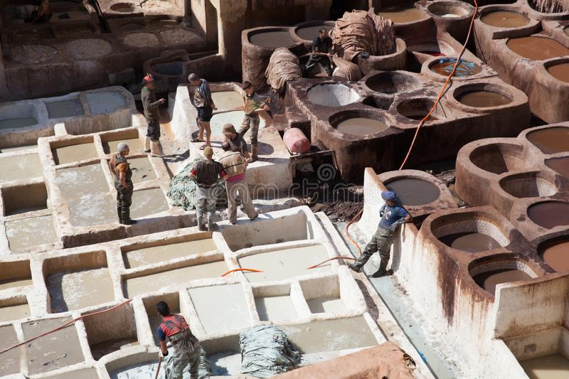 Leather tannery, Fez, Morocco, 2017 stock photo