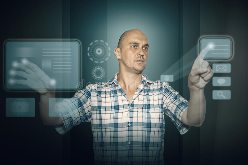 Man working on tuch screen stock images