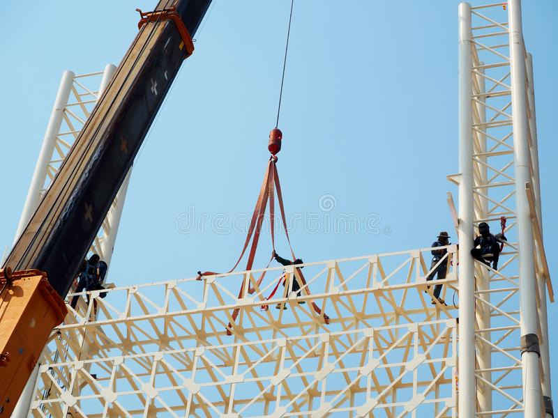 Man Working on the Working at height stock image