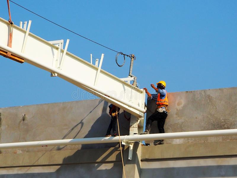 Man Working on the Working at height. In Thailand royalty free stock photos