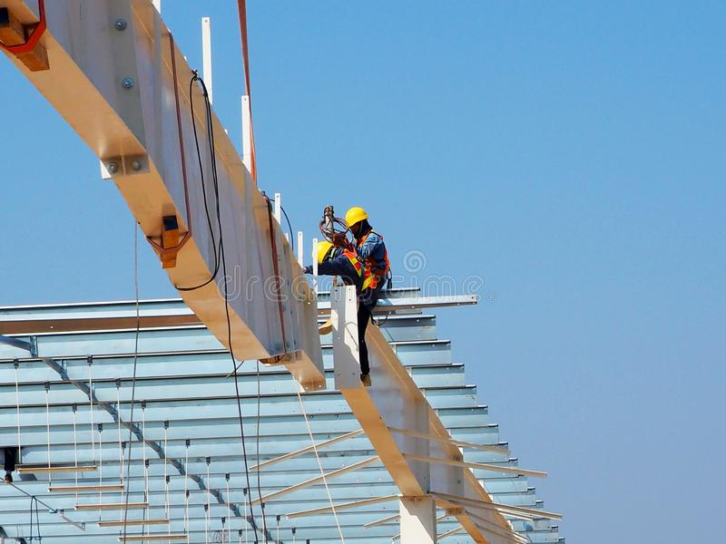 Man Working on the Working at height. In Thailand stock photos