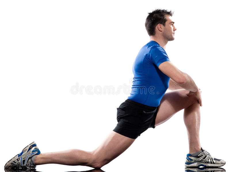 Man Workout Posture fitness exercise kneeling stretching legs stock photos