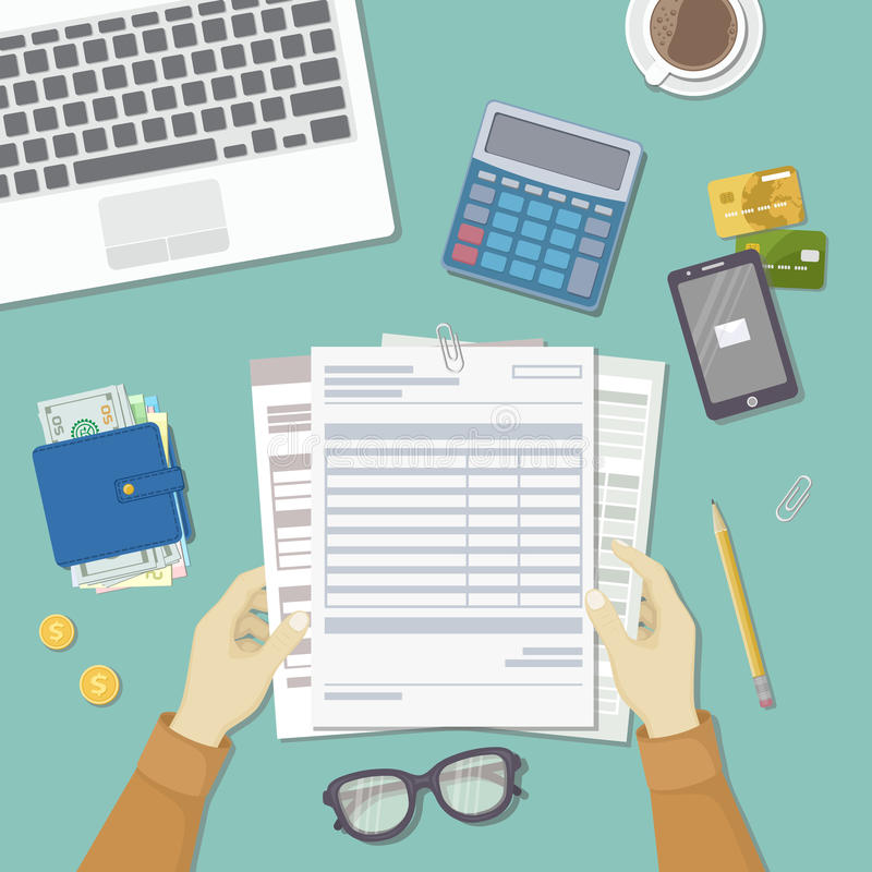 Man works with financial documents. Concept of paying bills, payments, taxes. Human hands hold the accounts, payroll, tax form. Workplace with papers, blanks royalty free illustration