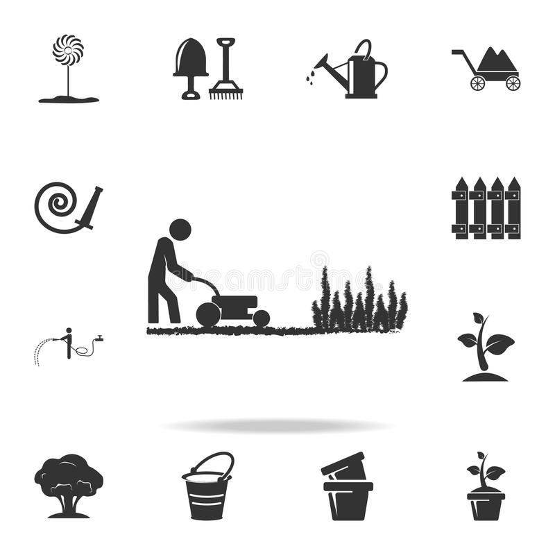 man works with a lawn mower icon. Detailed set of garden tools and agriculture icons. Premium quality graphic design. One of the c vector illustration