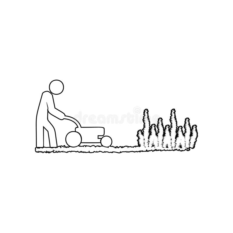 Man works with a lawn mower icon. Element of Garden for mobile concept and web apps icon. Outline, thin line icon for website. Design and development, app vector illustration
