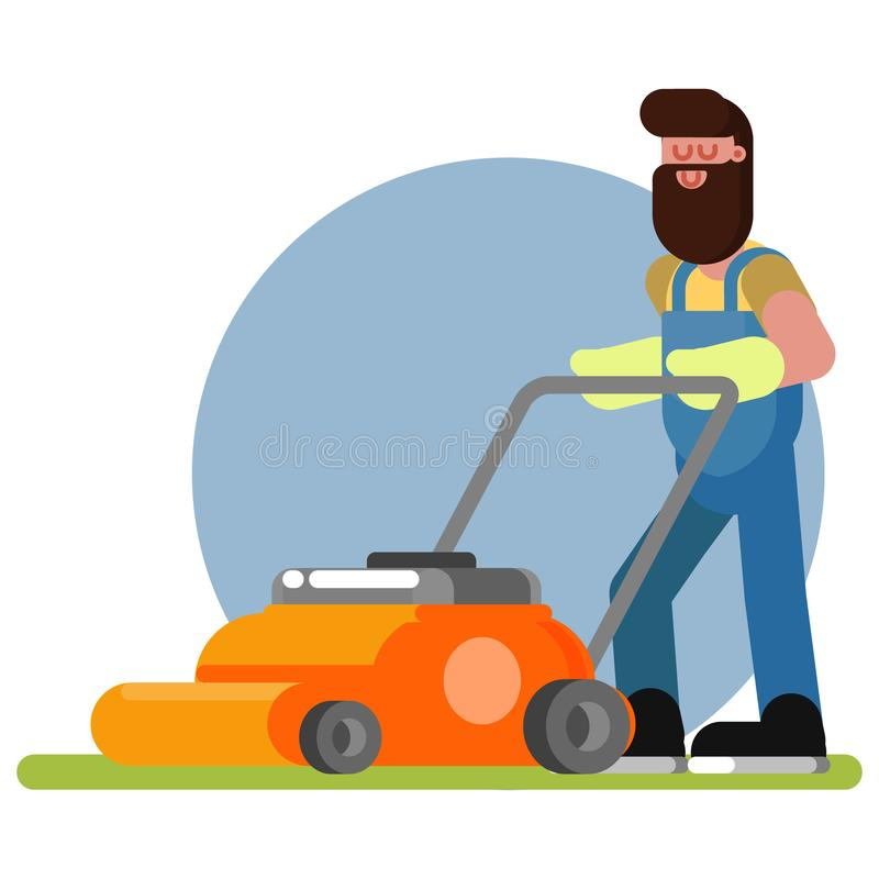 Man works with a lawn mower. Vector illustration, EPS 10 royalty free illustration