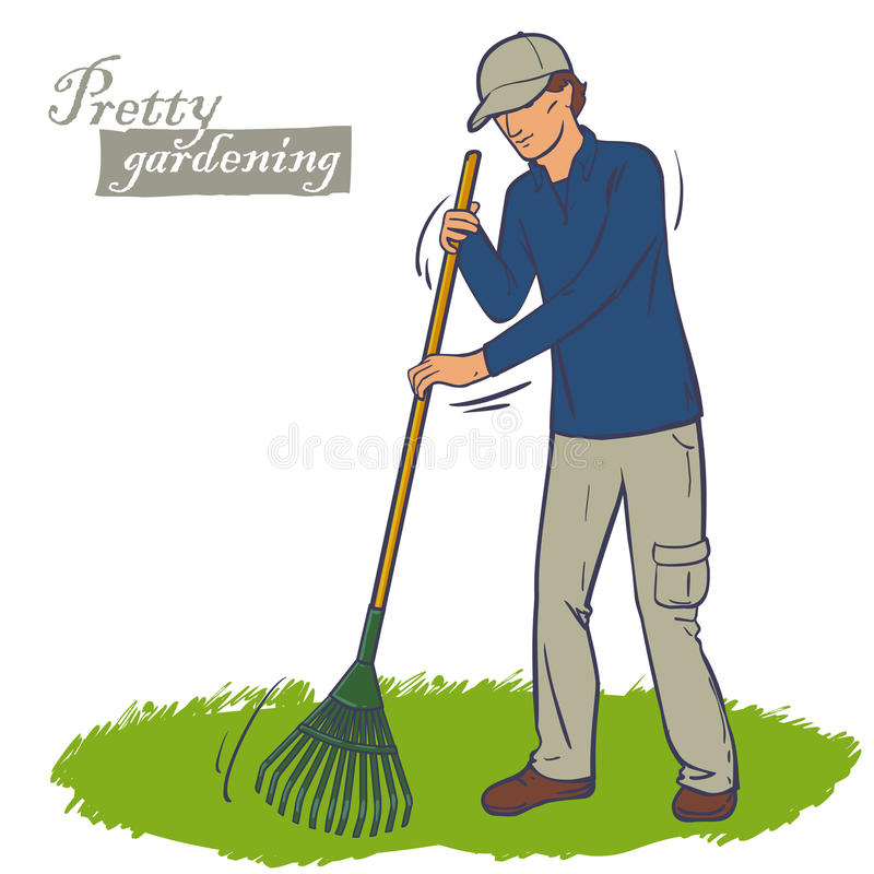 Man works a rake. The man in the cap works a rake in the garden. Cleaning green lawn. Lawn care royalty free illustration