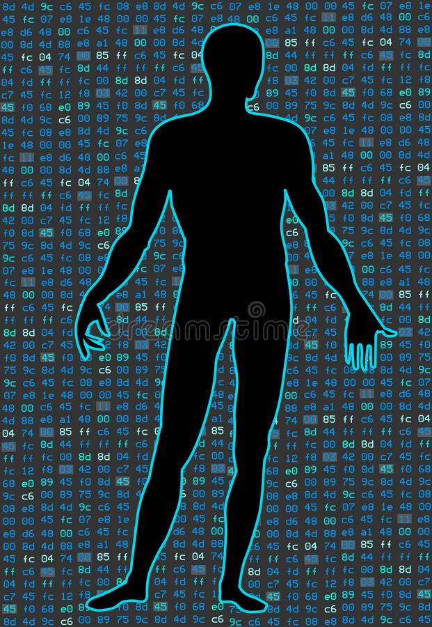 Artificial Intelligence.Silhouette of a human body on a black background program binary code. It can illustrate vector illustration