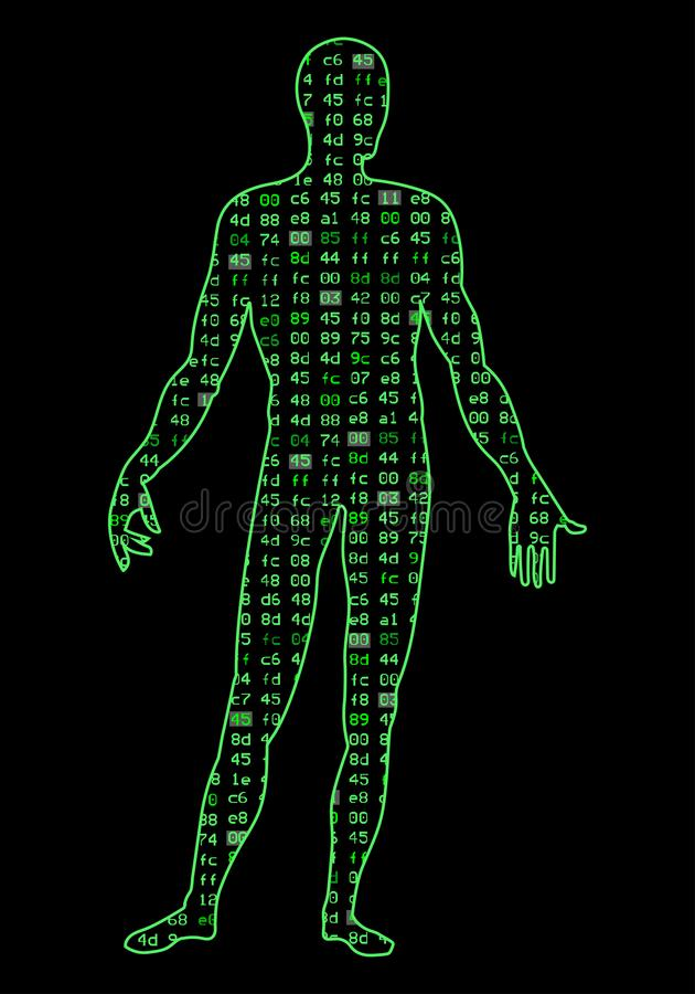 Artificial Intelligence.Silhouette of a human body on a black background program binary code. It can illustrate stock illustration