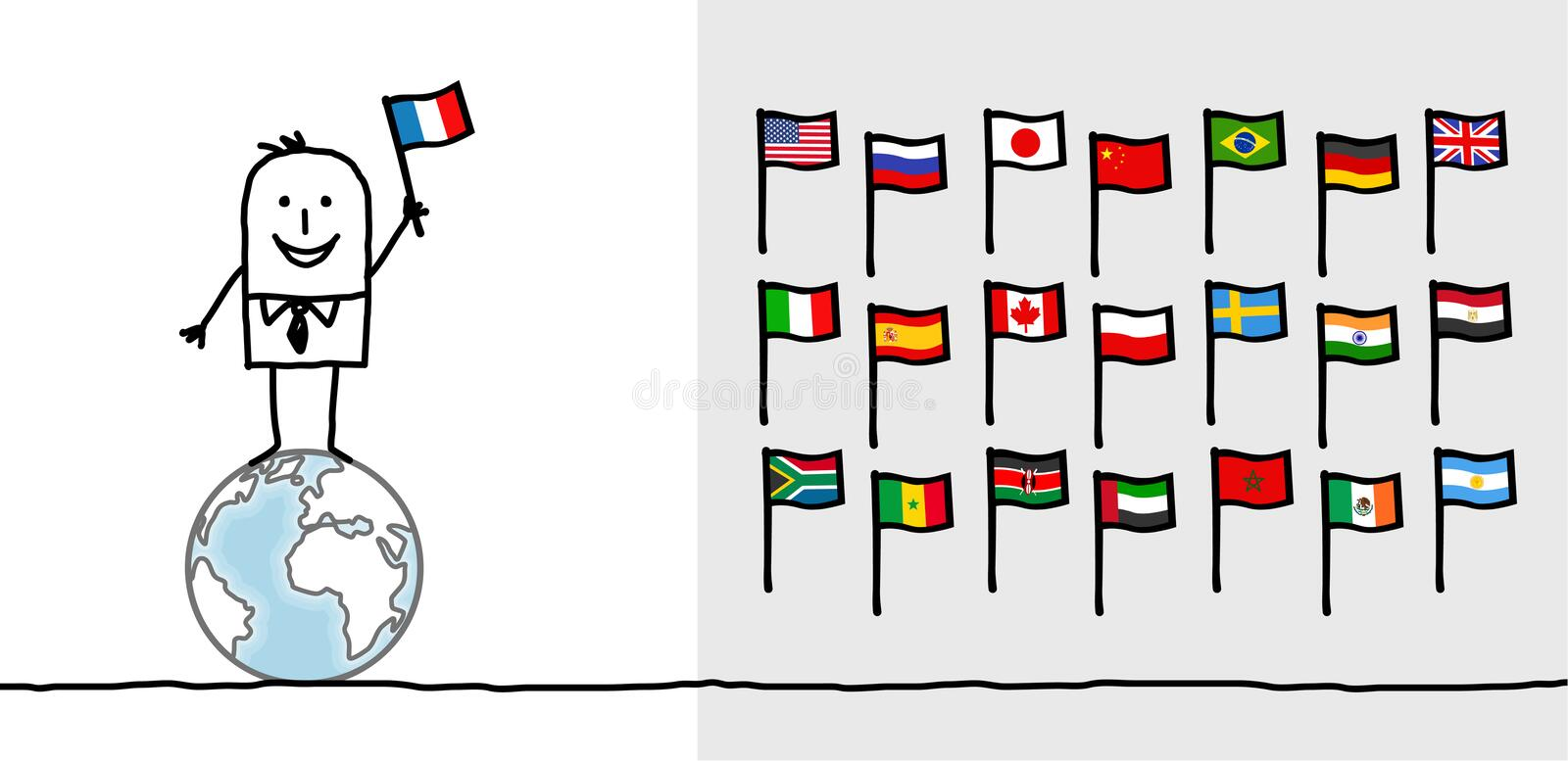 Man & world flags. Hand drawn cartoon characters - man & world flags
