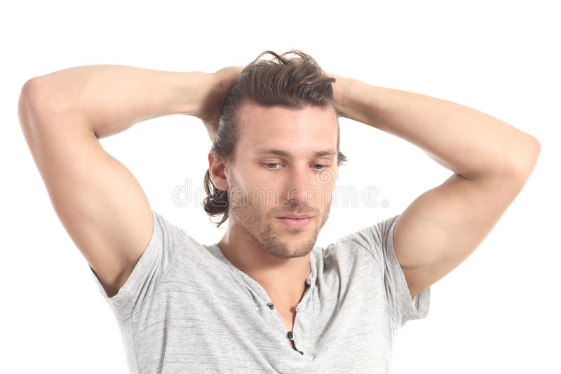 Man worried with hands in his head royalty free stock images