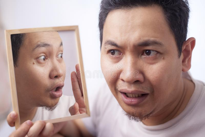 Man Worried Listening His Inner Voice stock photography