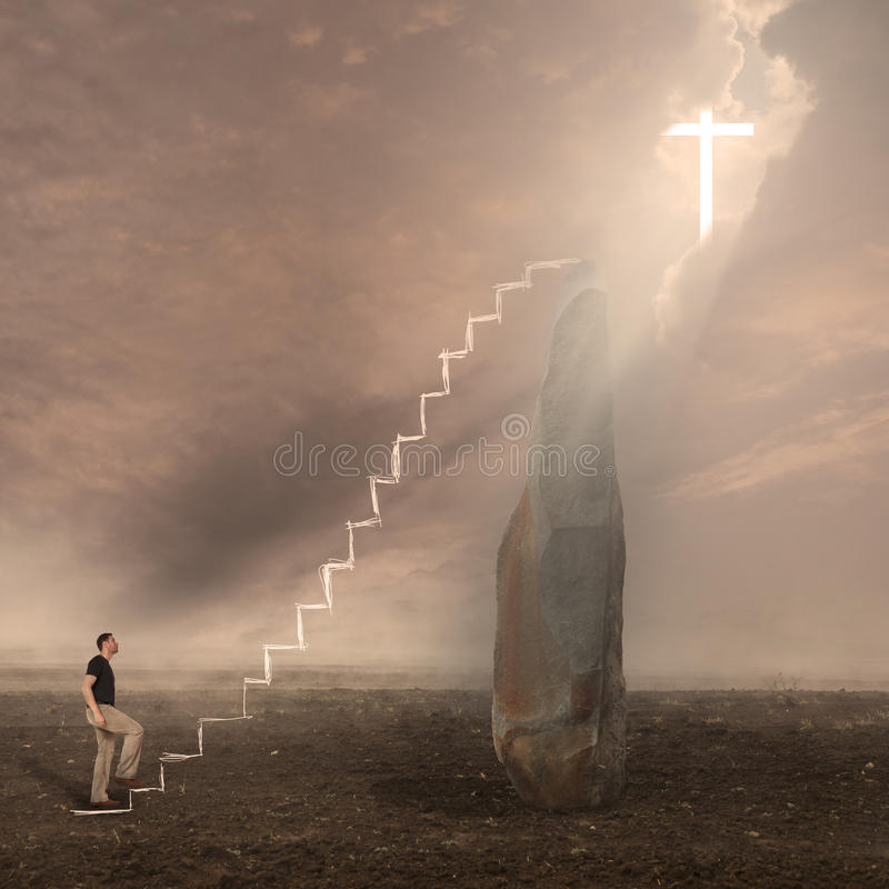 Man worshiping God. Cross appears in Heaven royalty free stock photography