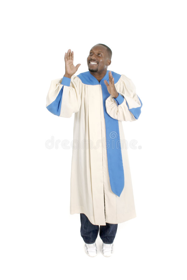 Man Worshipping 2. Man wearing a choir robe holding hands up and looking upward in worship stock photos