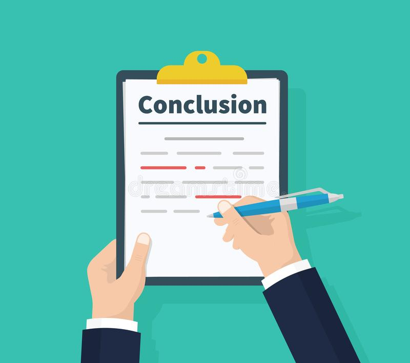 Man writes conclusion, report concept. Holding the clipboard and pen in hand. Paperwork, sheets in folder. Vector. Illustration flat design. Isolated on green royalty free illustration