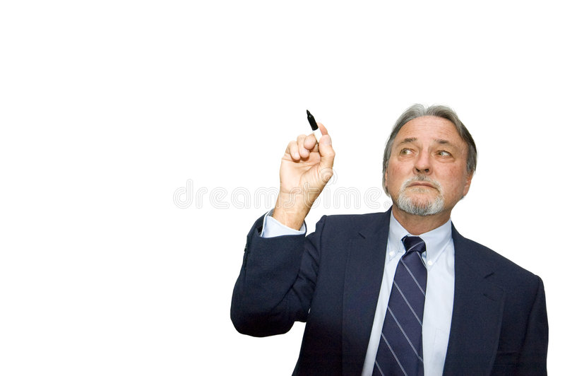 Download Man writing in air stock image. Image of holding, middle - 7448083