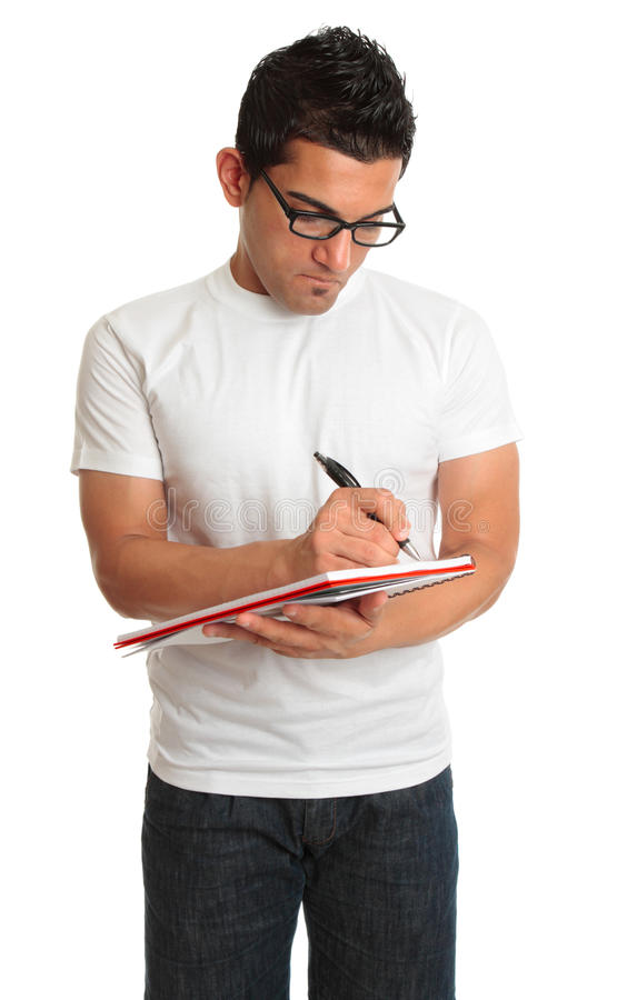 Man Writing In A Book Notepad Royalty Free Stock Photo