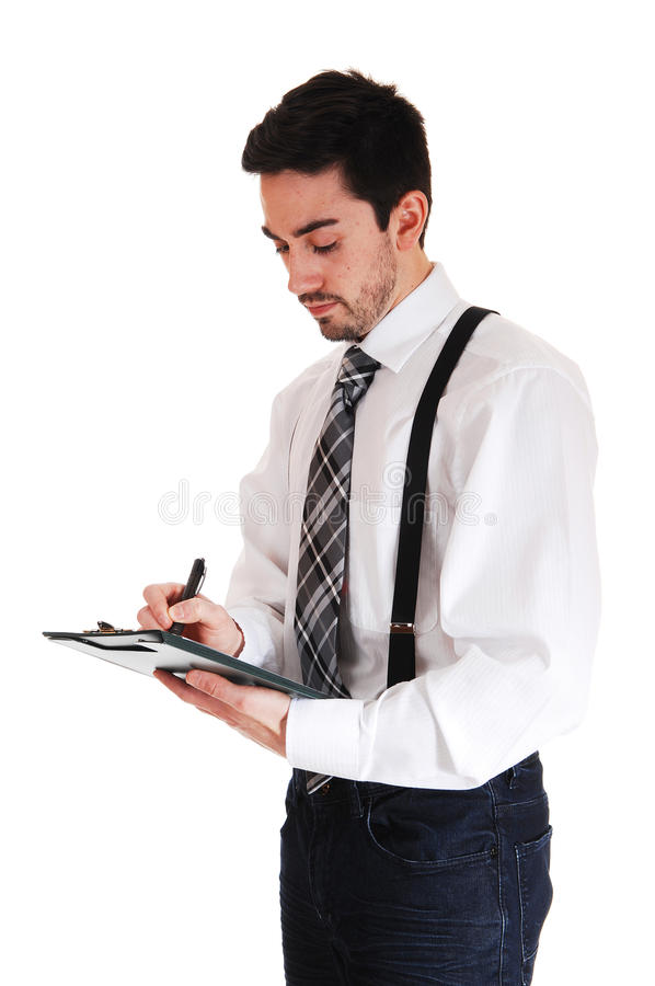 Download Man writing on clipboard. stock photo. Image of look - 39506062
