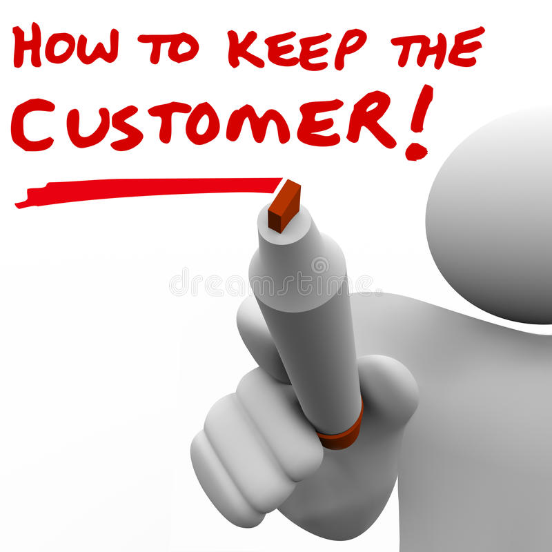 Man Writing How to Keep the Customer on Board vector illustration