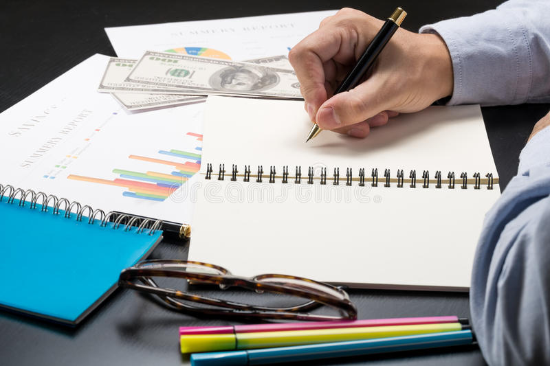 Man Writing Idea For Analysis Business And Financial Report Stock ...