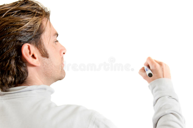 Download Man writing with a marker stock image. Image of portrait - 11368819