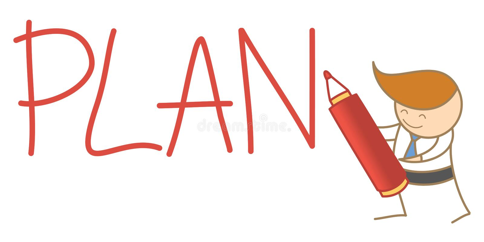 Man writing a plan word royalty free illustration