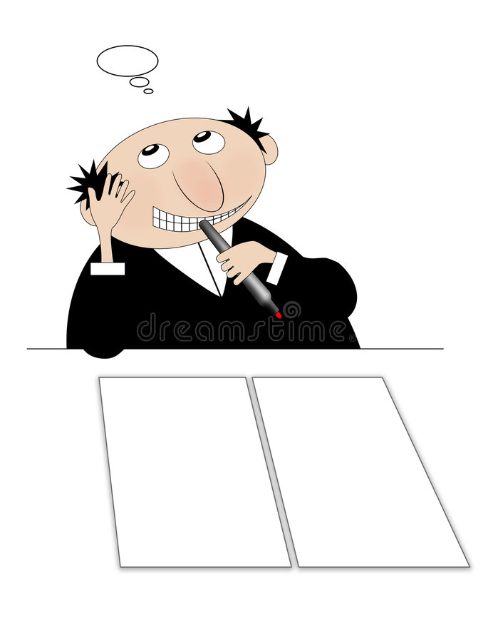 Download A Man Writing And Thinking. Stock Illustration - Image: 6527214