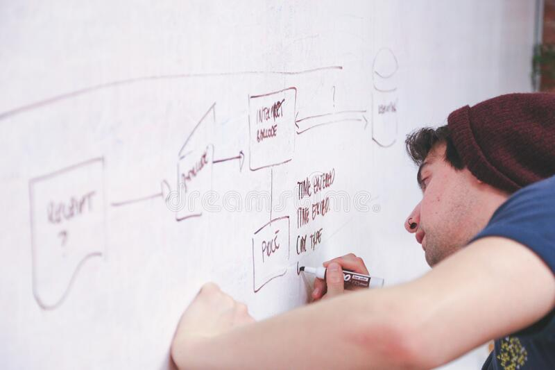 Man writing on whiteboard royalty free stock photo