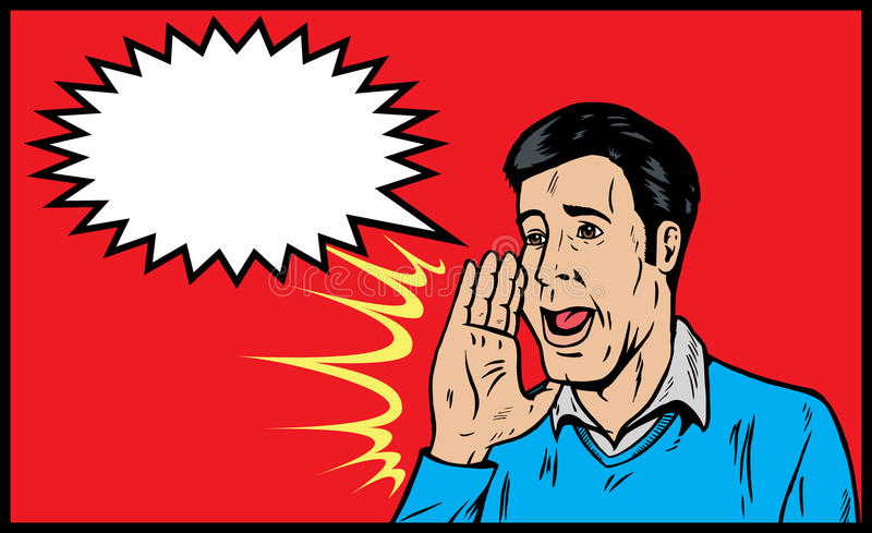 Man yelling. Or announcing something vector illustration
