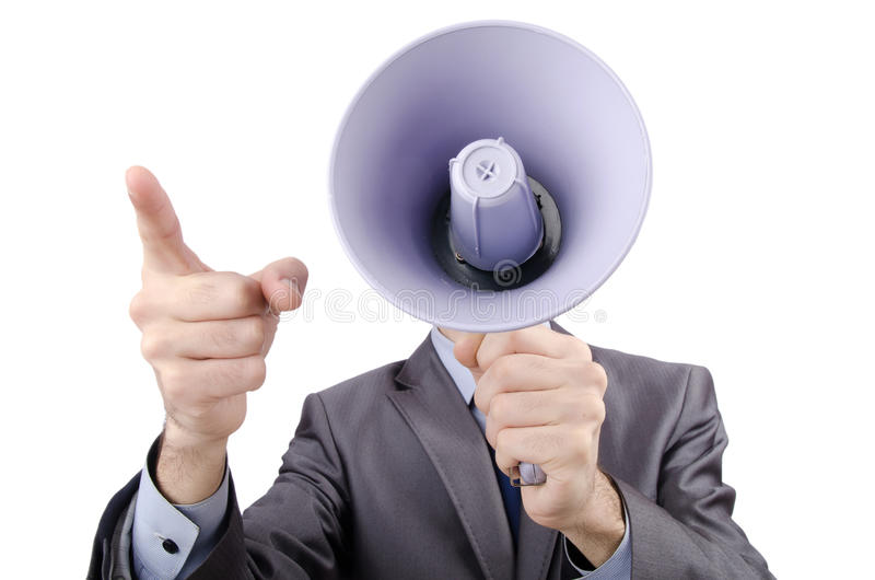Man yelling with loudspeaker. Man shouting and yelling with loudspeaker royalty free stock images