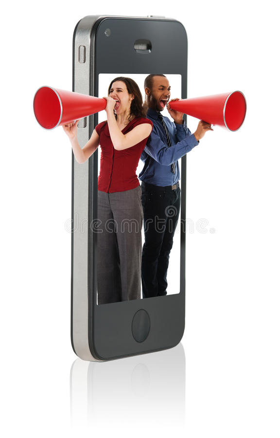 Man yelling in megaphone stock photos