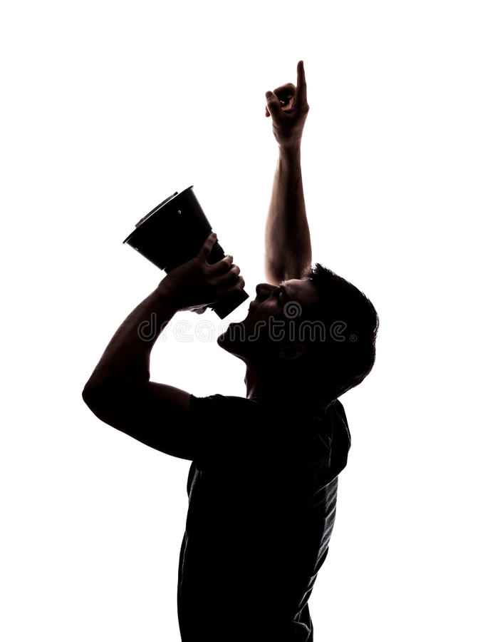 Download Man yelling in a megaphone stock photo. Image of scream - 33197890