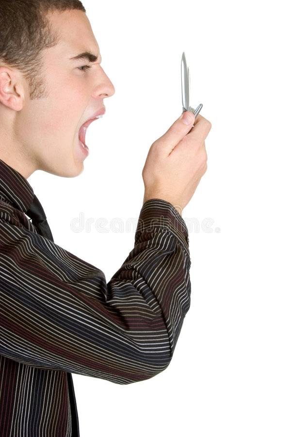 Man Yelling into Phone stock images