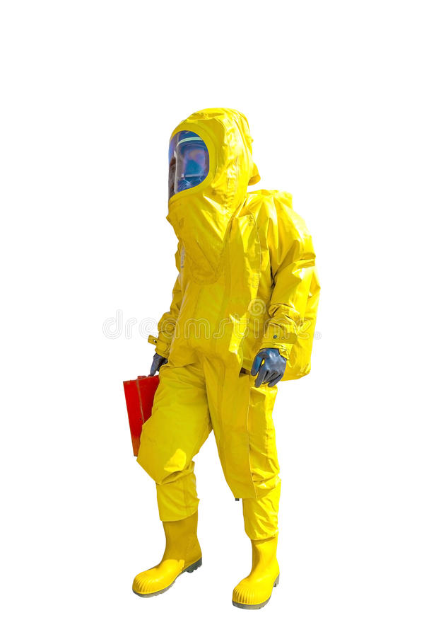 Man in yellow protective hazmat suit isolated on white. Background stock photo