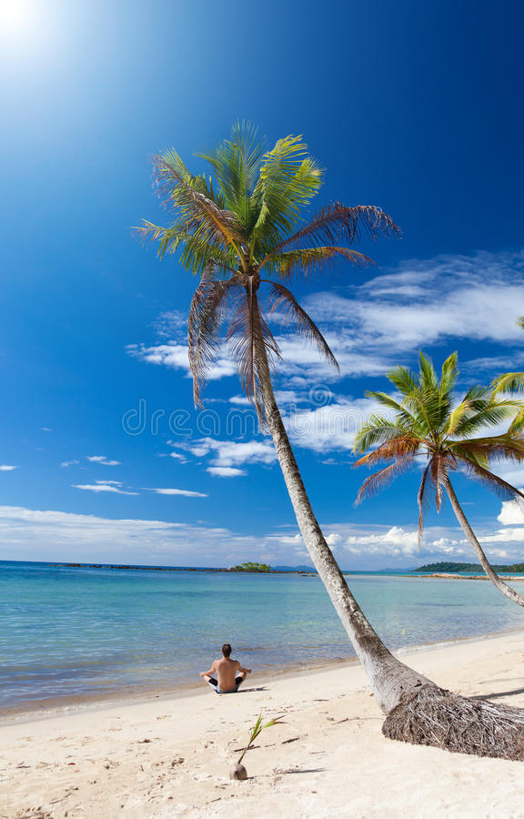 Download Man In A Yoga Posture Relaxes Under Palm Trees Stock Image - Image: 17398871