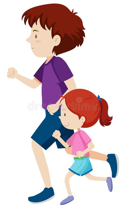 Man and young girl on a run. Illustration royalty free illustration