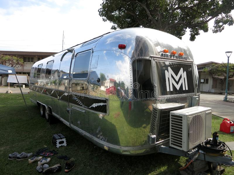 Mana Mele: its mobile music-recording studio. Honolulu - May 6, 2016: Mana Mele: its mobile music-recording studio housed within a 31-foot-long, 1976 Airstream 2 royalty free stock images