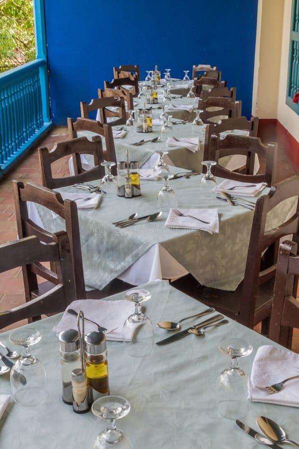 MANACA IZNAGA,古巴- 2016年2月9日:前殖民地豪宅的餐馆在特立尼达附近的Manaca Iznaga村庄,古芝 图库摄影