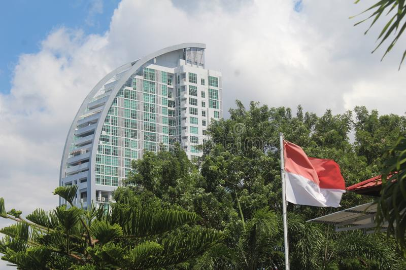 Manado City Indonesia With Indonesian Flag. royalty free stock photography