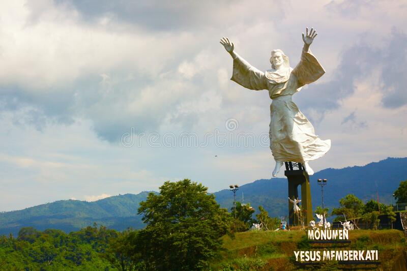 Manado, Indonesia - August 26, 2010 : Jesus Bless Statue In Manado, North Sulawesi, Indonesia is The third tallest statue in Indon stock image