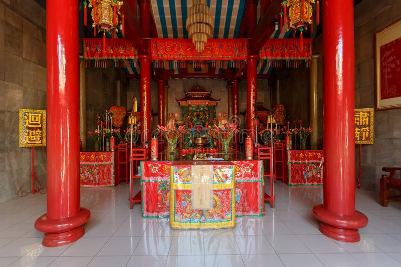 Klenteng Kwan Kong, Manado Indonesia. Manado, Indonesia - August 04 2015: Shrine on Klenteng Kwan Kong Temple, one of the oldest temple in Manado which was stock image