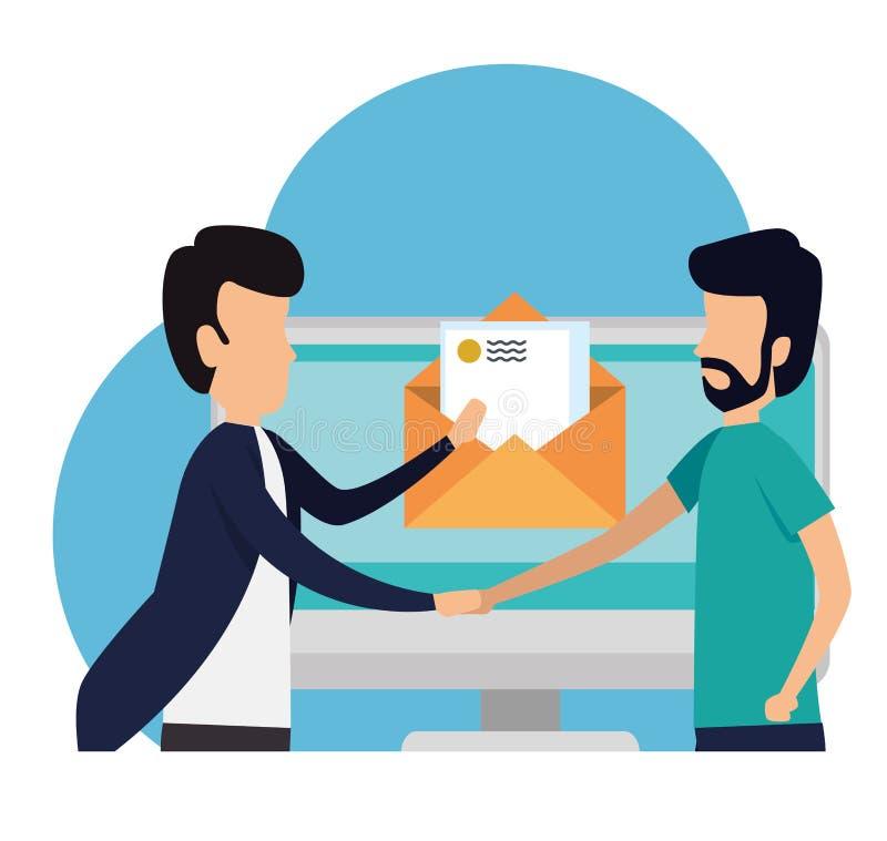 Manaffärsteamwork med bokstavsdatormeddelandet stock illustrationer