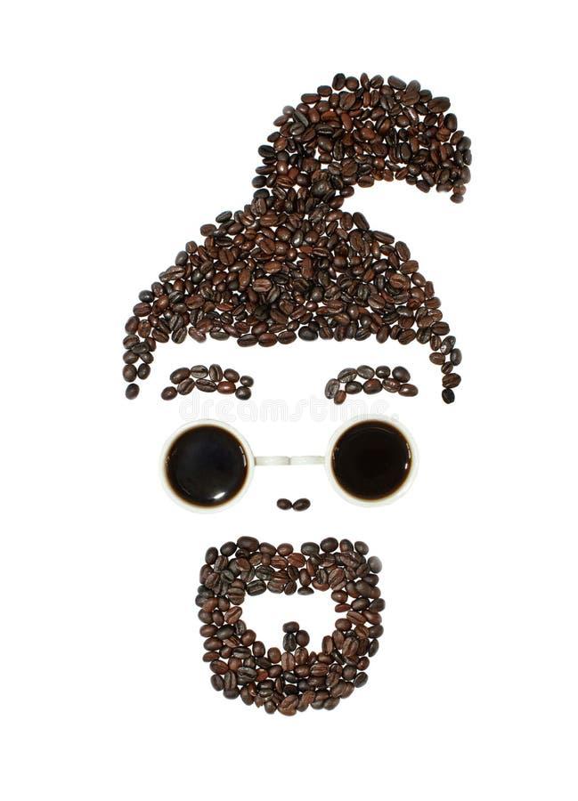 Manafrikansk amerikan med en mustasch och ett skägg som göras av kaffebönor och exponeringsglas som göras av kaffekoppar En skägg fotografering för bildbyråer