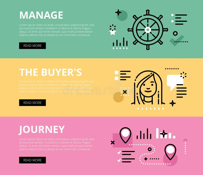Manage the Buyers Journey. Web banners set. Flat line web banners of manage a sale. Line steering wheel, woman avatar and roadmap for websites and marketing stock illustration