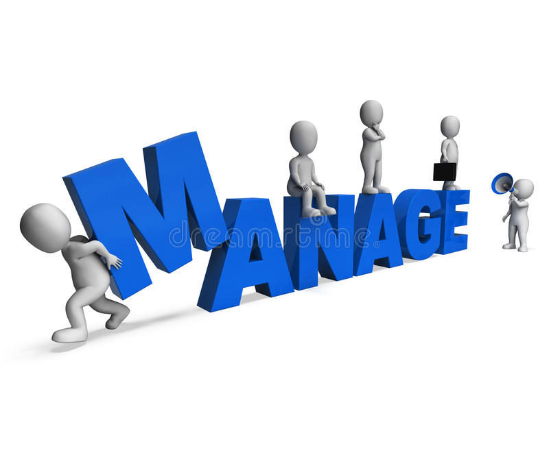 Manage Characters Shows Managing Management And Leadership. Manage Characters Showing Managing Management And Leadership stock illustration