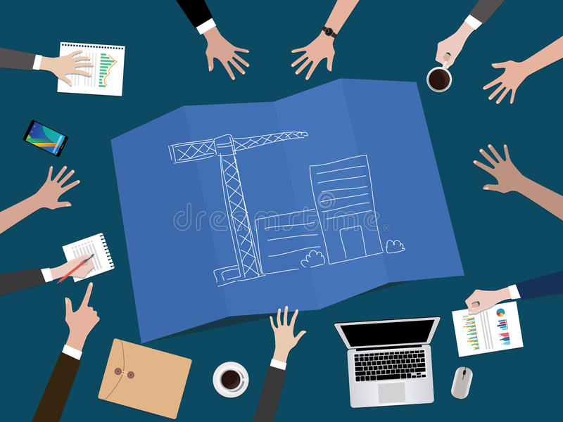Manage company development or build a startup company concept illustration with hand team work together on top of the. Table vector royalty free illustration