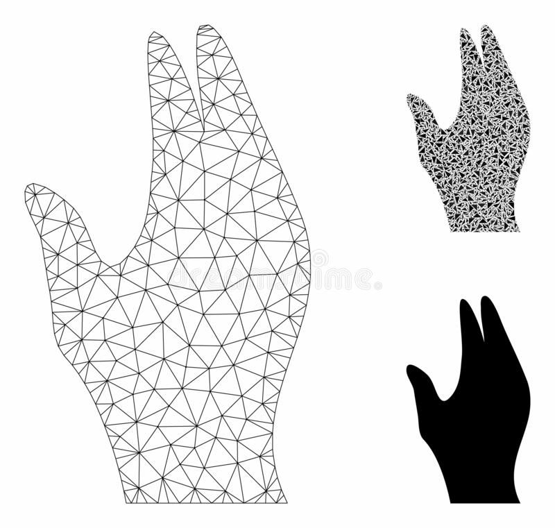 Manage Hand Vector Mesh Wire Frame Model and Triangle Mosaic Icon. Mesh manage hand model with triangle mosaic icon. Wire frame polygonal mesh of manage hand royalty free illustration