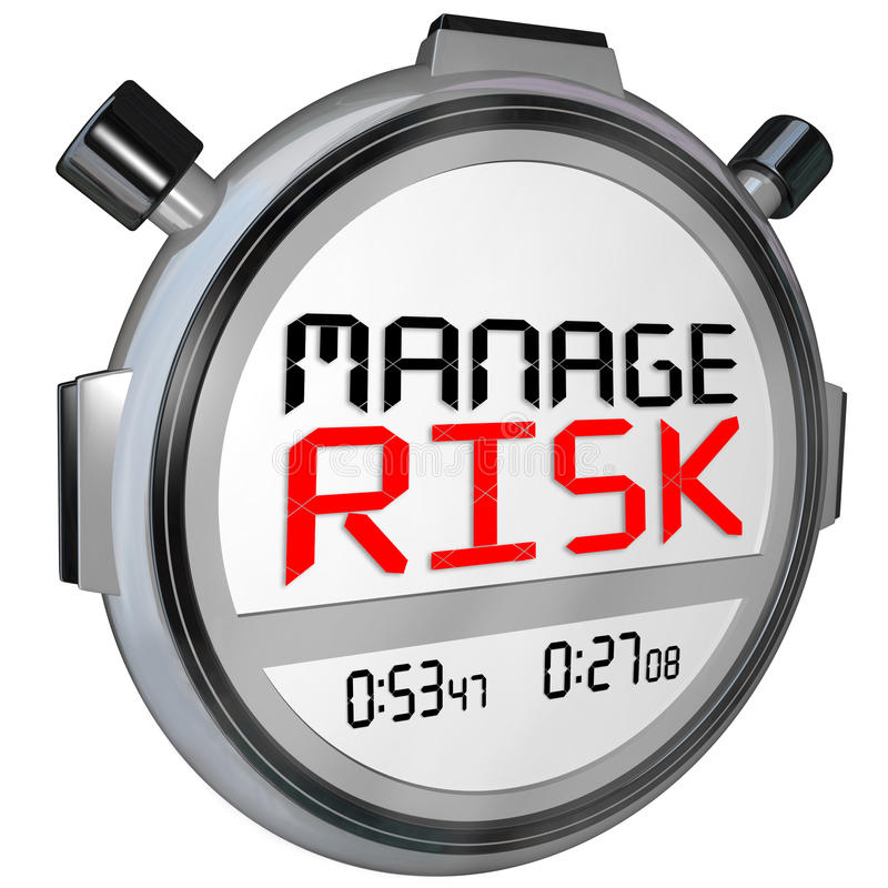 Manage Risk Now Stopwatch Timer Speed. Manage Risk words stopwatch timer to illustrate the need to eliminate or minimize danger or opportunity for liability or royalty free illustration