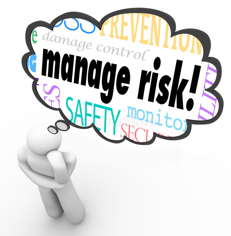 Manage Risk Thinker Thought Cloud Limiting Loss Liability. Manage Risk words in a thought cloud above a thinking person to illustrate someone pondering or stock illustration