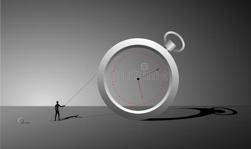 Manage the time, ring watch and small man with stick and long shadows, surrealism clock, change the time dreams, stock illustration